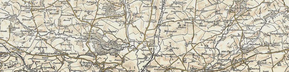 Old map of Tipple Cross in 1900
