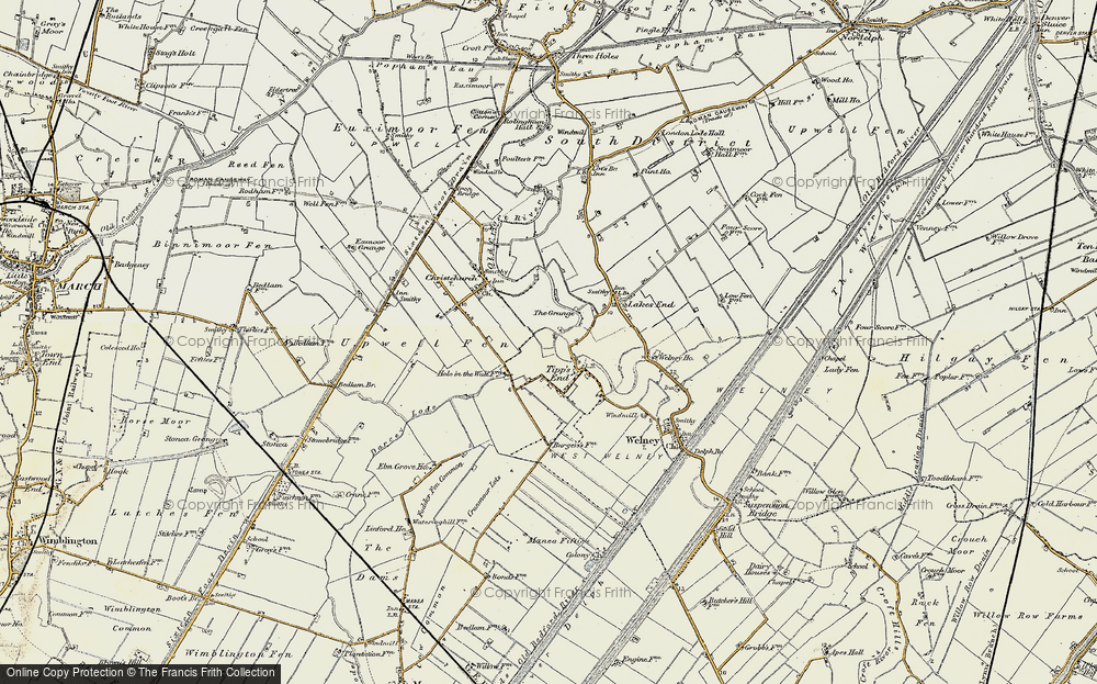 Old Map of Tipps End, 1901-1902 in 1901-1902