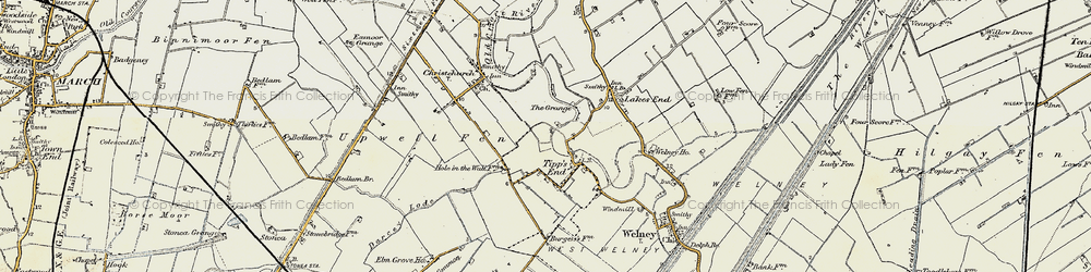 Old map of Tipps End in 1901-1902