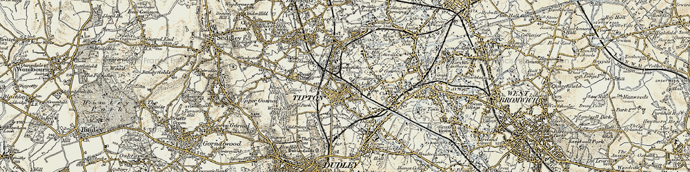 Old map of Tipton Green in 1902