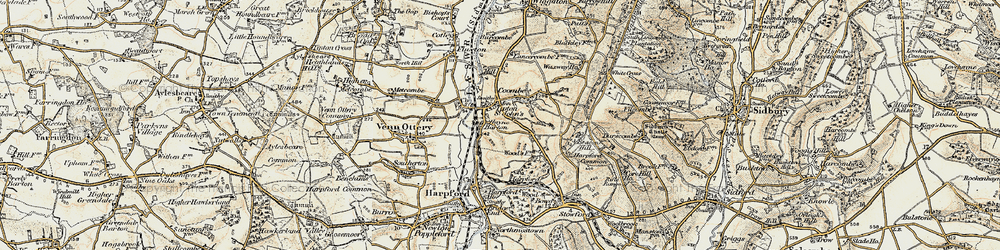 Old map of Tipton St John in 1899