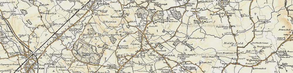 Old map of Tiptree in 1898-1899