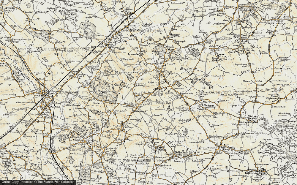 Old Map of Tiptree Heath, 1898-1899 in 1898-1899