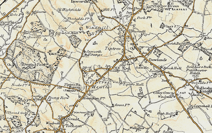 Old map of Tiptree Hall in 1898-1899