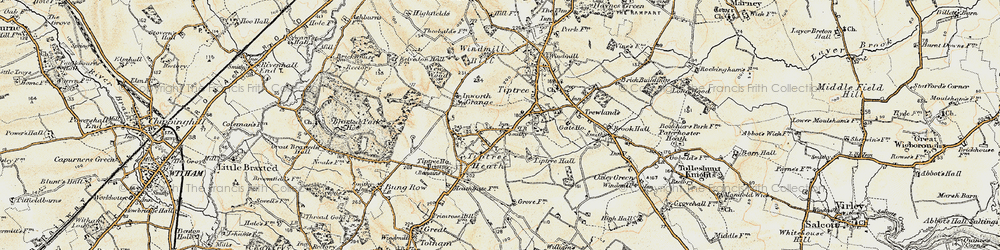 Old map of Tiptree Heath in 1898-1899