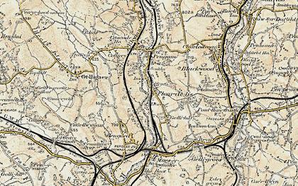 Old map of Tir-y-berth in 1899-1900