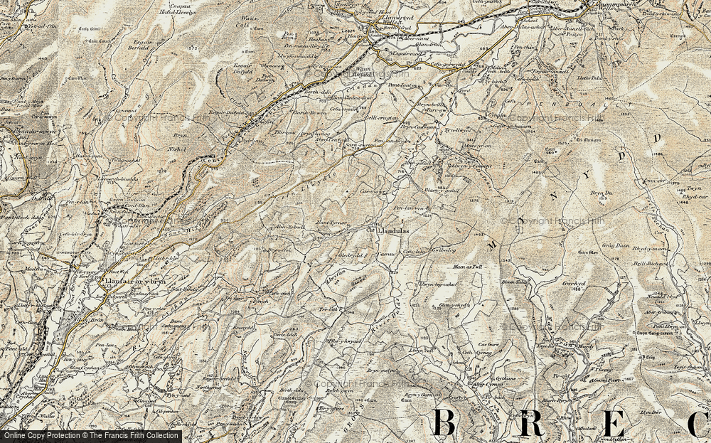 Old Map of Historic Map covering Abergefail in 1900-1902