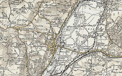 Old map of Tircanol in 1900-1901
