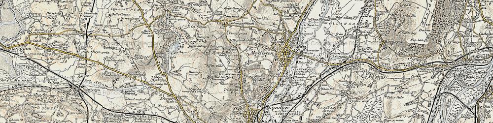 Old map of Tirdeunaw in 1900-1901