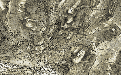 Old map of Tirinie in 1906-1908