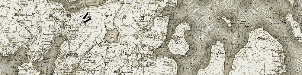 Old map of Tirvister in 1912