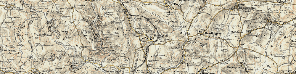 Old map of Tissington in 1902