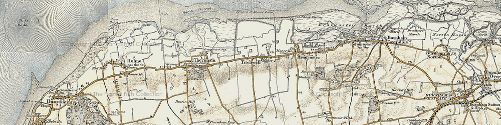 Old map of Titchwell in 1901-1902