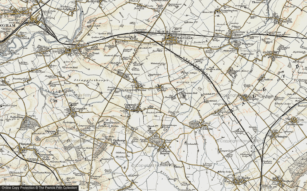 Old Map of Tithby, 1902-1903 in 1902-1903