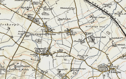 Old map of Tithby in 1902-1903