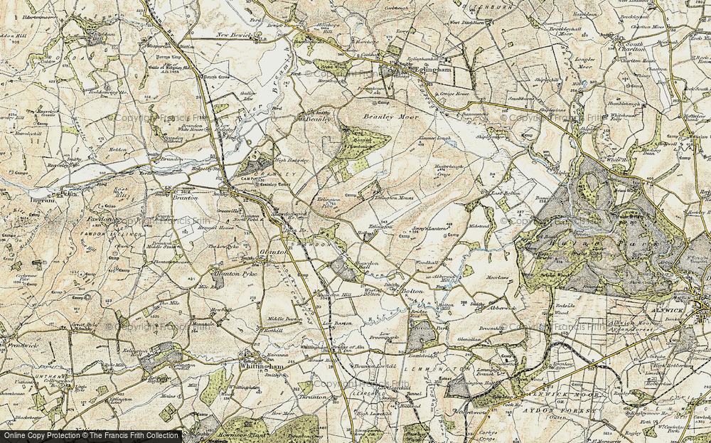 Old Map of Historic Map covering Titlington Mount in 1901-1903