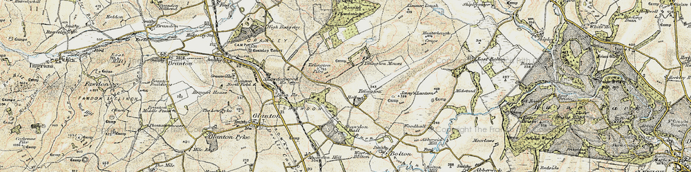 Old map of Titlington Burn in 1901-1903