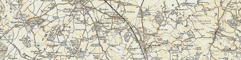 Old map of Titmore Green in 1898-1899