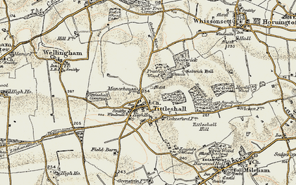 Old map of Tittleshall Hill in 1901-1902