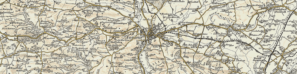 Old map of Tiverton in 1898-1900