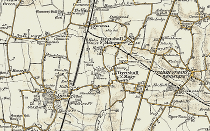 Old map of Tivetshall St Margaret in 1901-1902