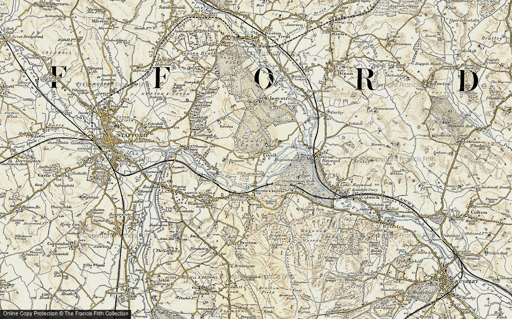 Old Map of Tixall, 1902 in 1902