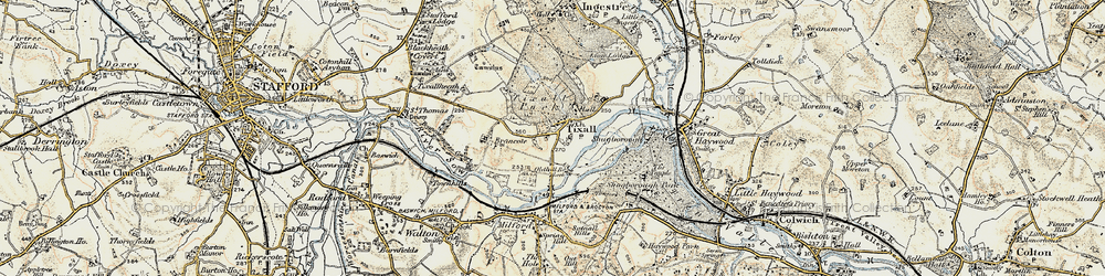 Old map of Tixall in 1902