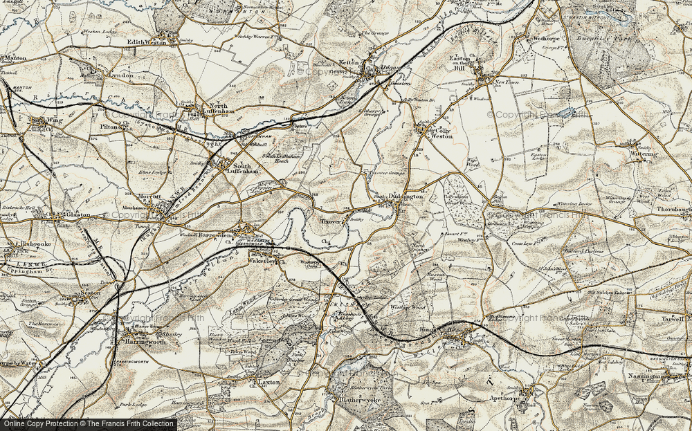 Old Map of Historic Map covering Tixover Grange in 1901-1903