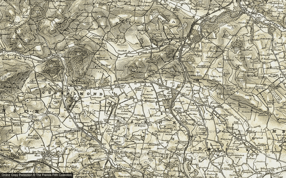 Old Map of Historic Map covering Baldyquash in 1909-1910