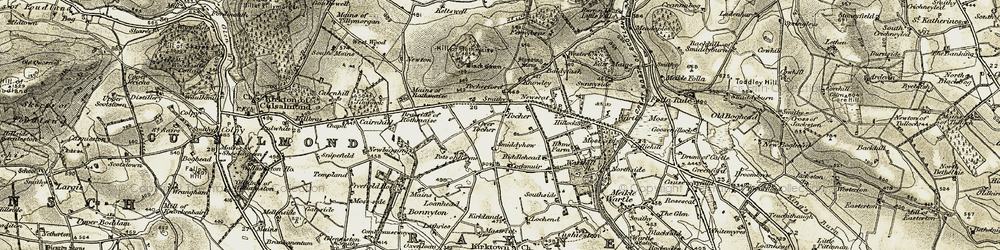 Old map of Tocherford in 1909-1910