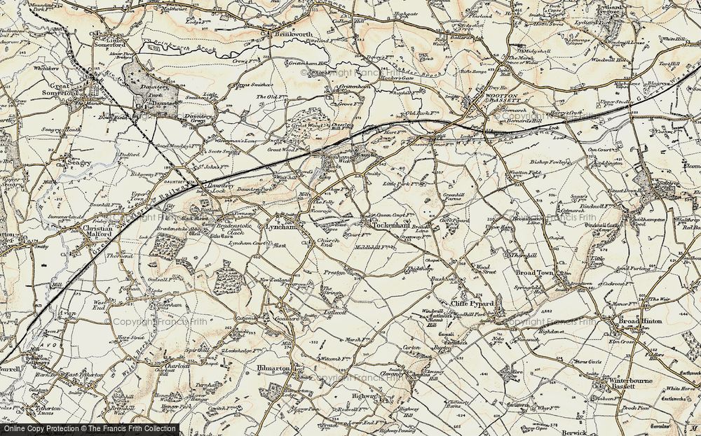 Old Map of Tockenham, 1898-1899 in 1898-1899