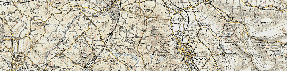 Old map of Tockholes in 1903