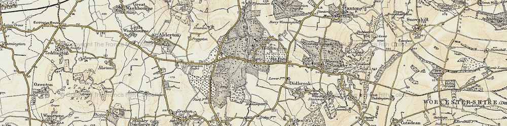 Old map of Toddington in 1899-1900