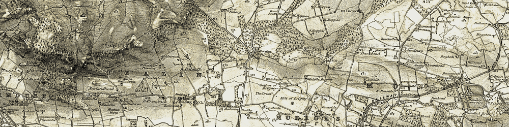Old map of Todhills in 1907-1908