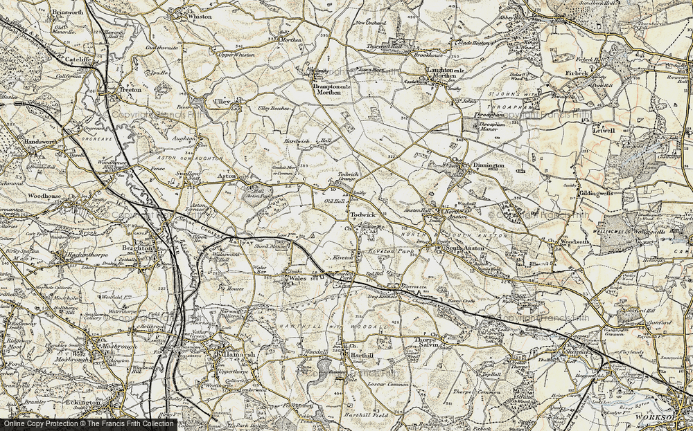 Old Map of Historic Map covering Todwick Grange in 1902-1903