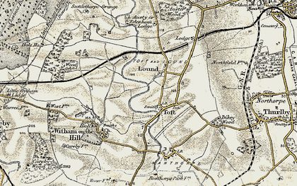 Old map of Auster Wood in 1901-1903
