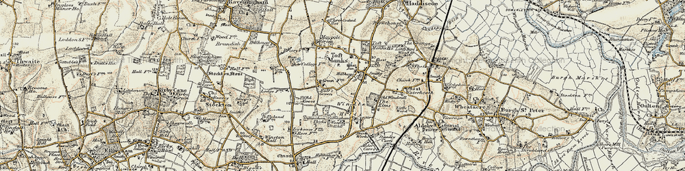 Old map of Windle Hills in 1901-1902