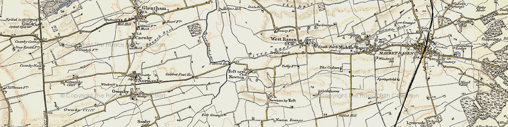 Old map of Toft next Newton in 1903