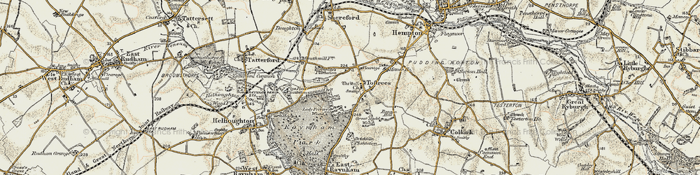 Old map of Toftrees in 1901-1902