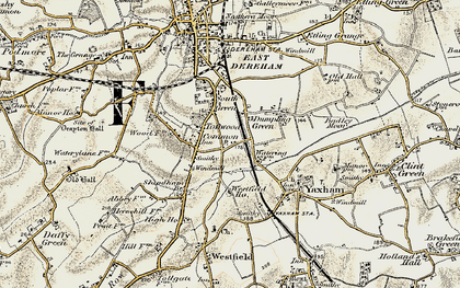 Old map of Toftwood in 1901-1902