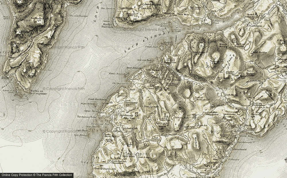Old Map of Historic Map covering Allt Tokavaig in 1906-1908
