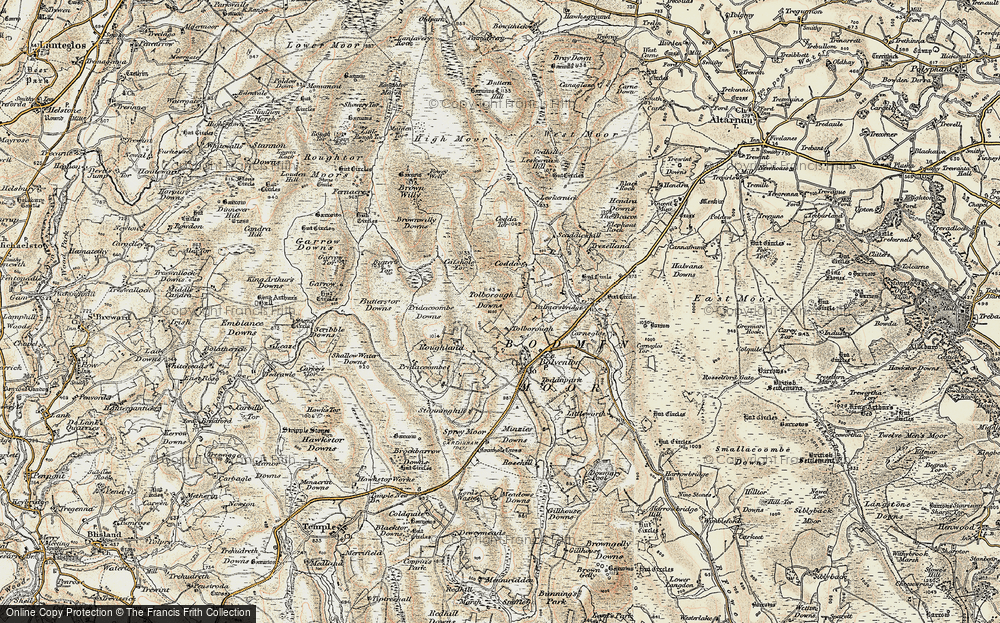 Old Map of Historic Map covering Tolborough Tor in 1900