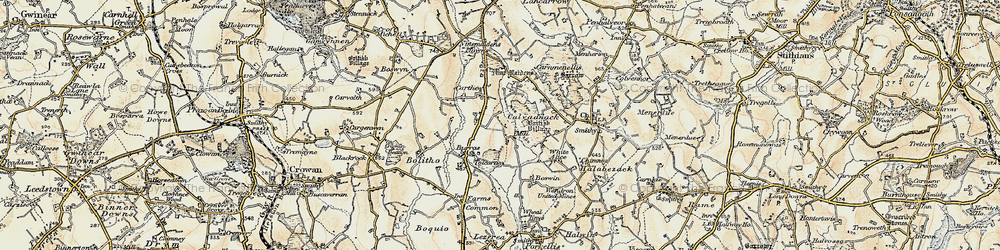 Old map of Tolcarne Wartha in 1900
