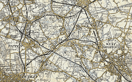 Old map of Toll End in 1902