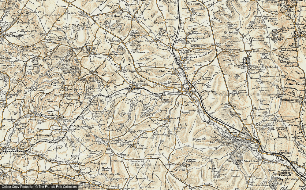 Old Map of Historic Map covering Wynford Wood in 1899