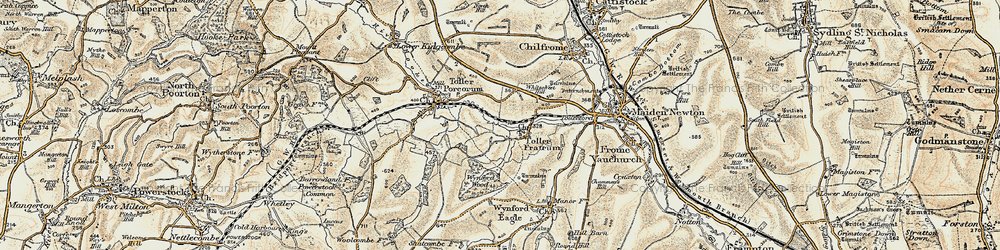 Old map of Toller Fratrum in 1899