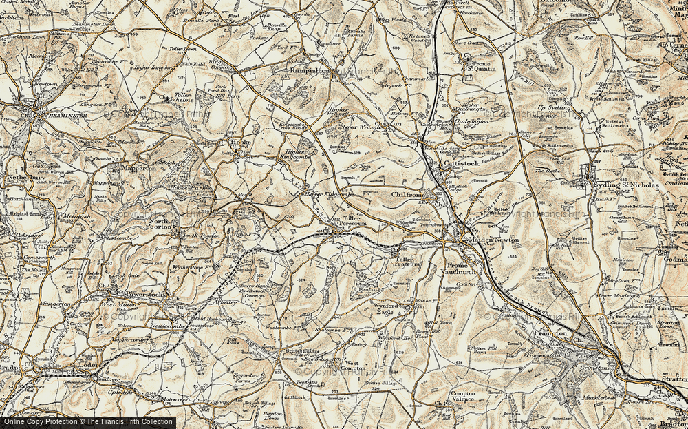 Old Map of Toller Porcorum, 1899 in 1899