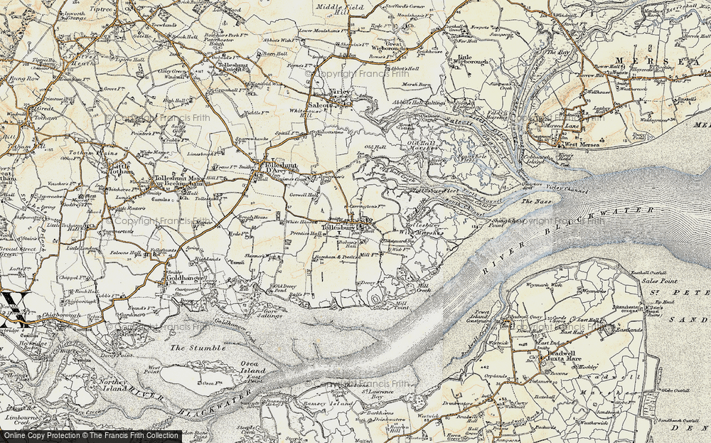 Old Map of Historic Map covering Tollesbury Fleet in 1898