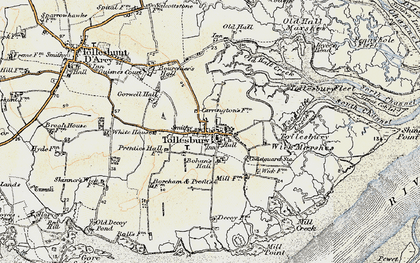 Old map of Tollesbury Wick Marshes in 1898
