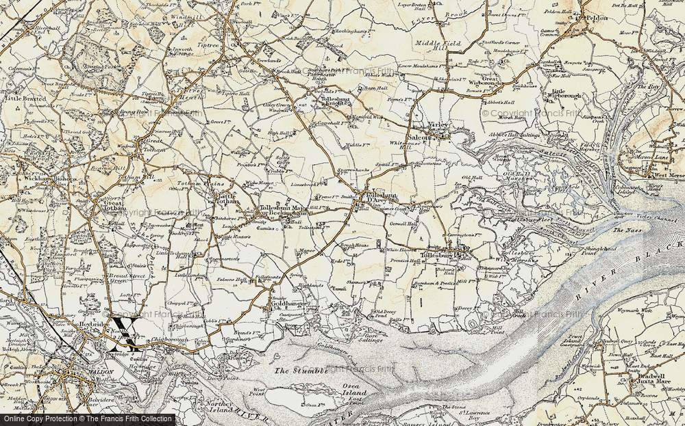 Old Map of Tolleshunt D'Arcy, 1898 in 1898